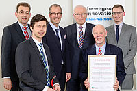 Dr. Mathias Weber (top right) and Philip Ochotta (bottom left) from the Institute of Plastics Processing in Aachen and Ingo Brexeler (top left) and Rainer Krallmann (bottom right) from the Krallmann Group in Hiddenhausen were delighted to receive the awar