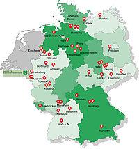 Standorte der 43 Kunststoff-Kursstätten in Deutschland