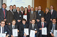 The winners in 2015 with representatives of the founders and supervisors. Lower row:  Paul Walach, 4th from left