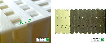 Mikroskopische Querschliffaufnahme durch ein FDM Bauteil