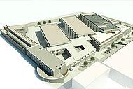 Gesamtgebäudekomplexes des IKV nach Errichtung der neuen Gebäudeteile