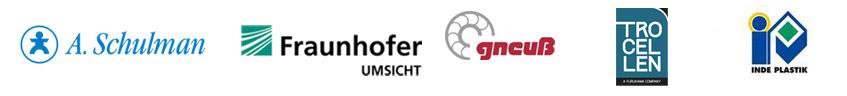 Company logos of A. Schulmann, Fraunhofer Umsicht, Gneuß, Trocellen Furukawa Otsuka and Inde Plastik