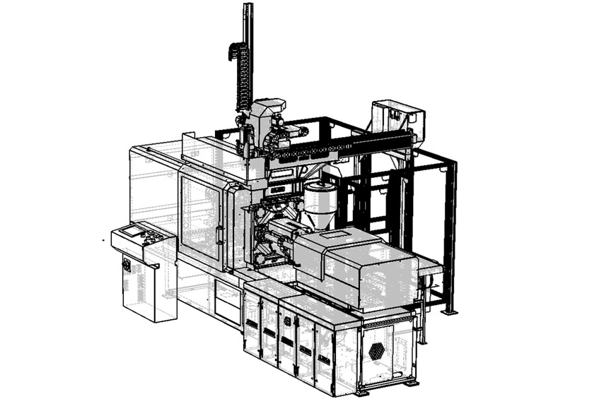 Injection moulding machine for customised part manufacture based on networked production