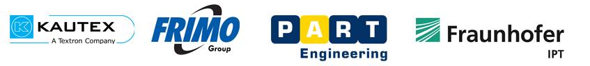 Logos der Projektpartner: Kautex Textron, Frimo Lotte, PART Engineering, Fraunhofer IPT