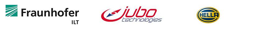 Company logos of  Jubo Technologies, Fraunhofer ILT and Hella GmbH & Co. KGaA