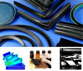 Verschiedene Elastomerbauteile, Bestandteile und Anlagentechnik