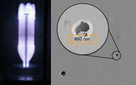 Innenbeschichtung einer PET-Flasche im Plasmareaktor, Plasmaschicht mit Defekten im Elektronenmikroskop